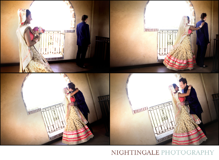Couple has a first look before their Indian wedding at Jacuzzi Vineyards