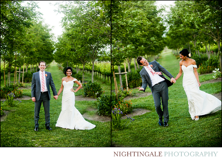 Couple take wedding portraits in the vineyards of Sonoma Valley amidst lush trees and vines