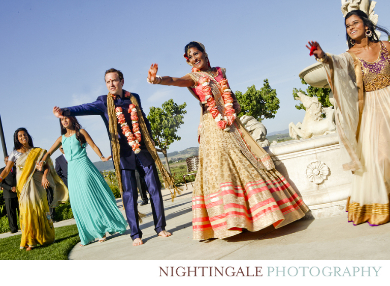 Wedding party does fun Bollywood dance after their ceremony at Jacuzzi Vineyards