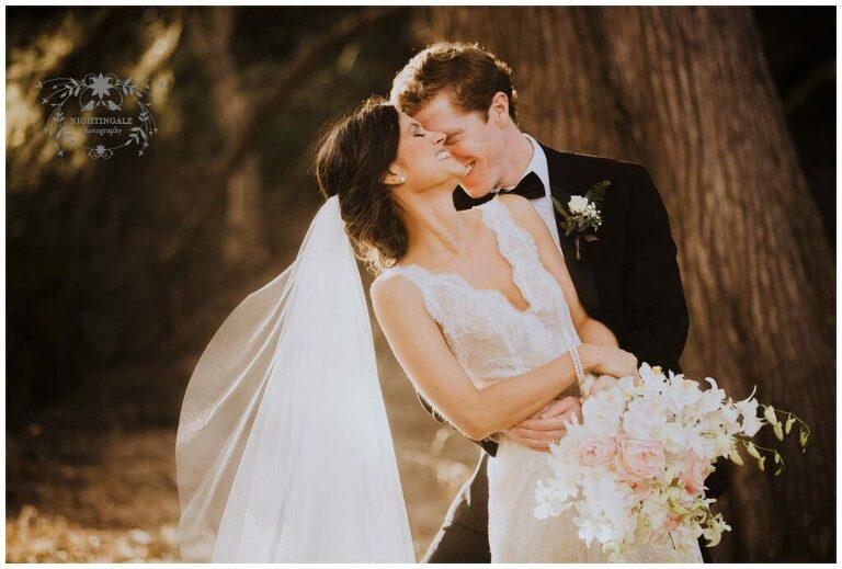 Wedding portrait of bride and groom in Half Moon Bay