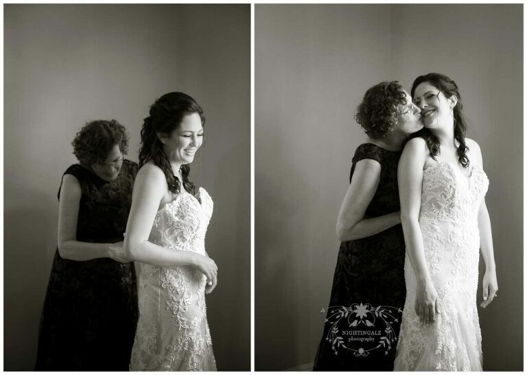 bride and mother embrace before her wedding ceremony