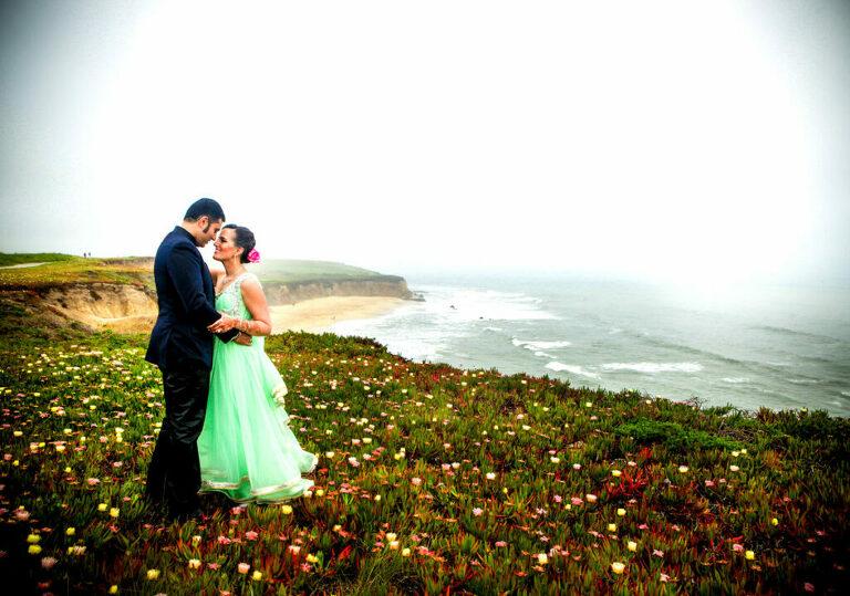 Indian wedding couple at their Half Moon Bay wedding