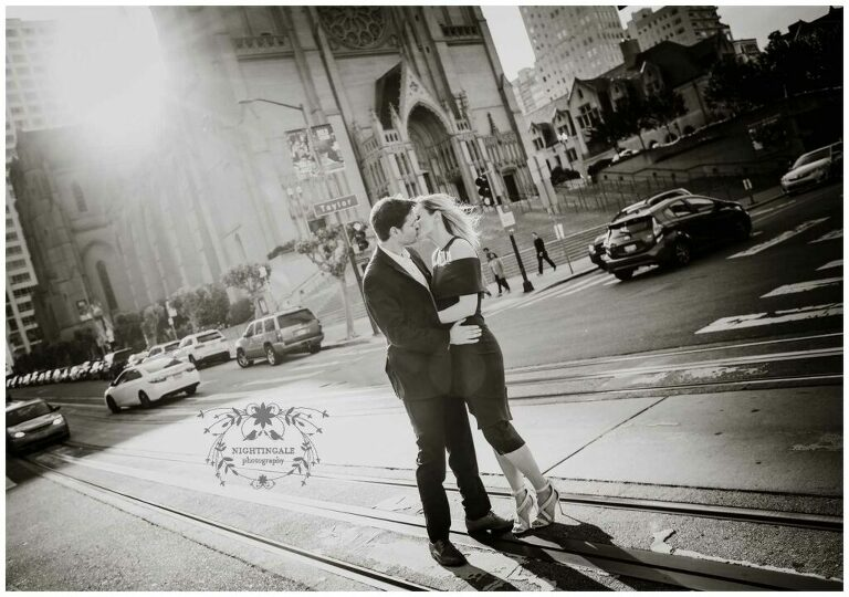 Engagement photos with Grace Cathedral in San Francisco