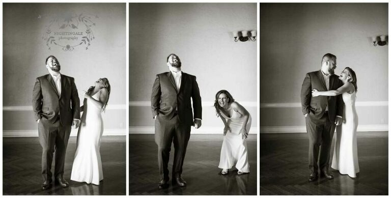 Couple laughs together at their Piedmont, Ca wedding