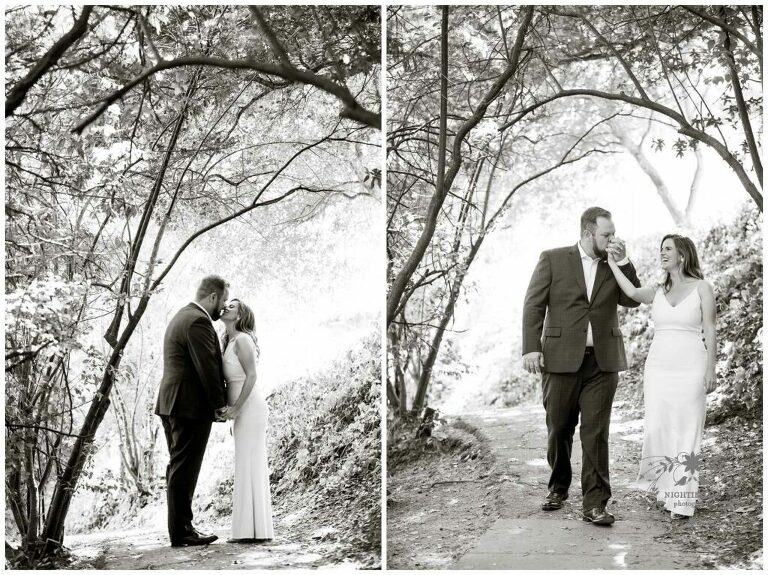 Couple walks in nature before their Piedmont Community Hall wedding