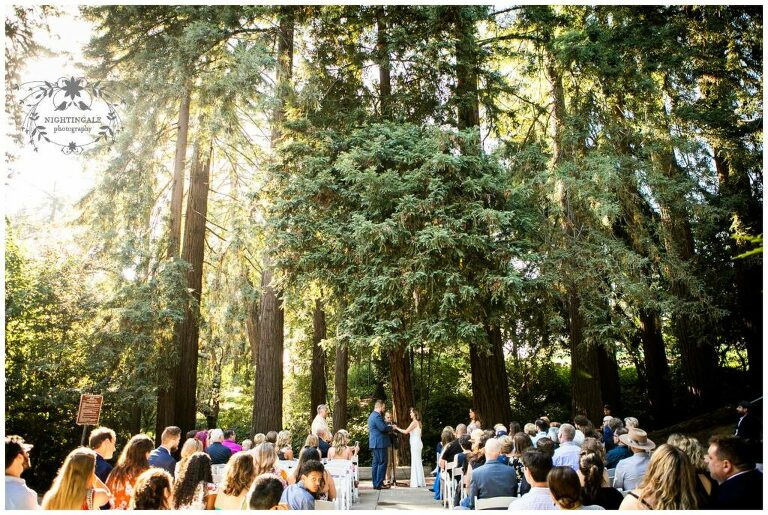 Wedding ceremony in the California redwoods at Piedmont Community Hall