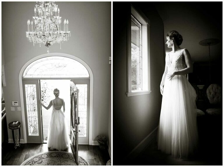 bride gets ready for her wedding day in california
