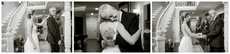 father of the bride sees his daughter in her gown