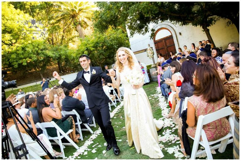 jewish couple at their wedding ceremony at Wente Vineyards