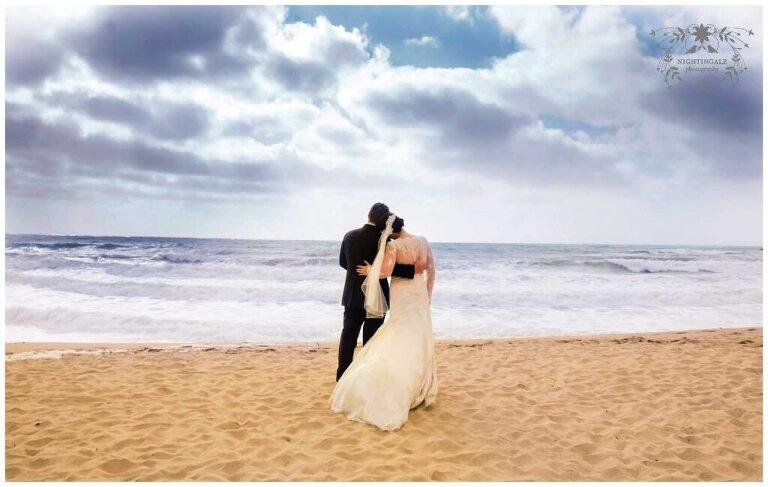wedding portraits on the beach at the Ritz-Carlton Half Moon Bay