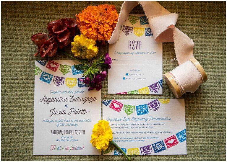 pastel picado latin themed wedding invitation