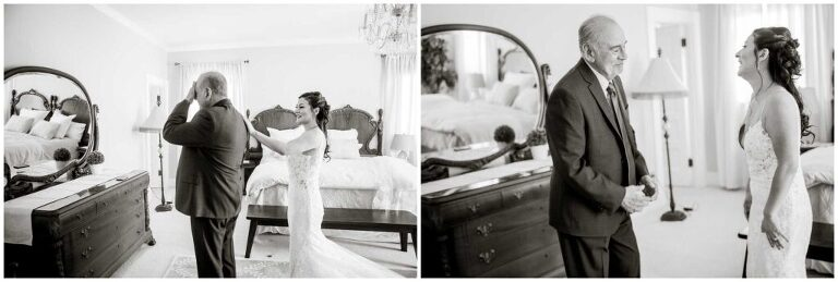 emotional first look for bride and her father in her wedding gown