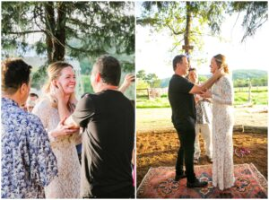 small wedding ceremony held in their california backyard