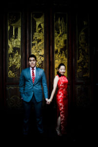 sf engagement photos - woman in red dress
