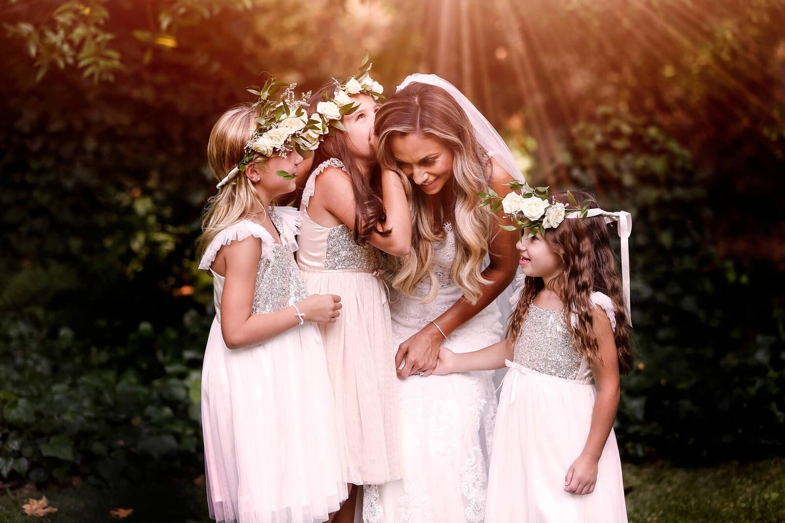 San Francisco wedding photographer - bride with flower girls