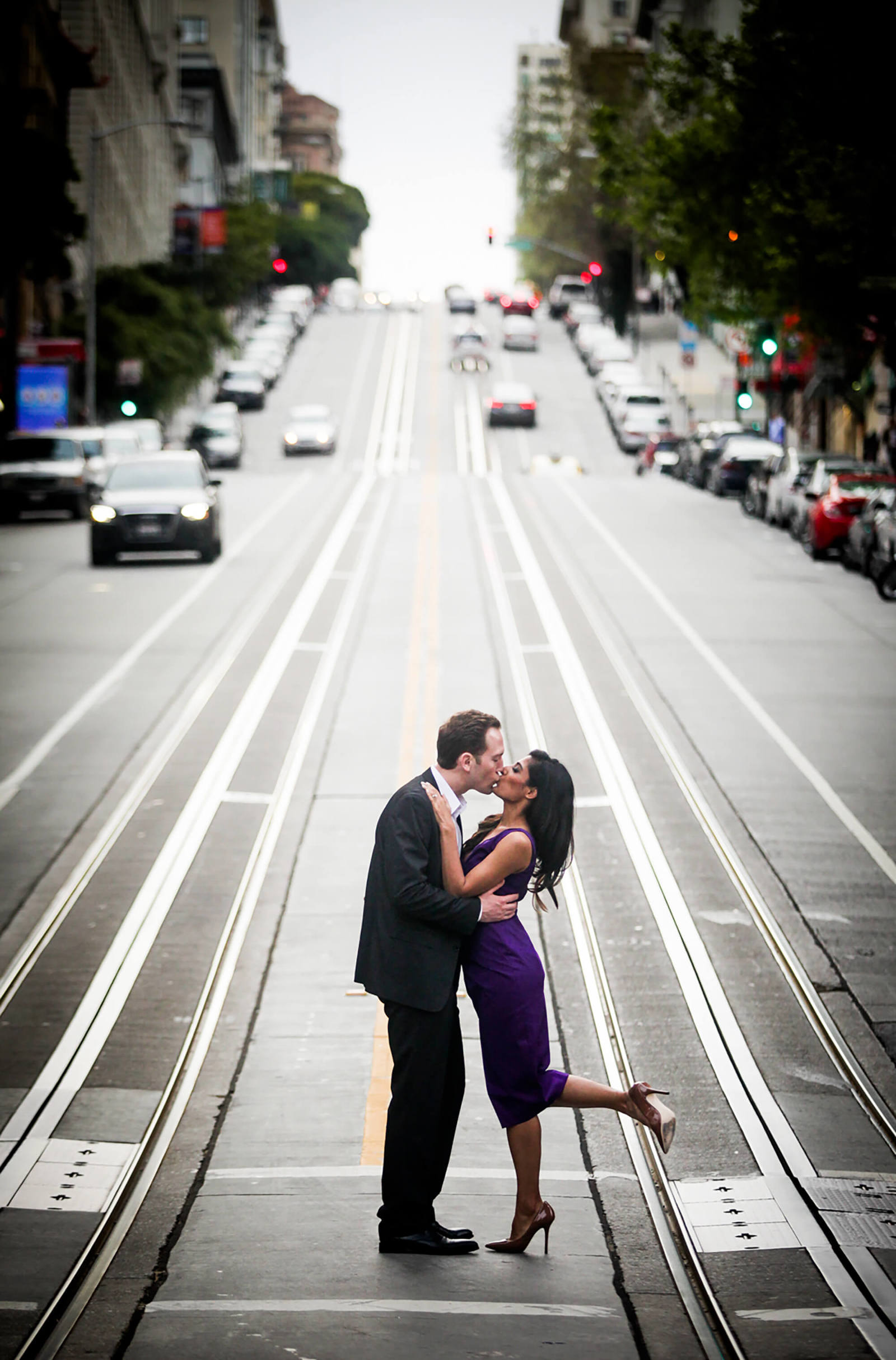 San Francisco engagement photographer - couple on city street