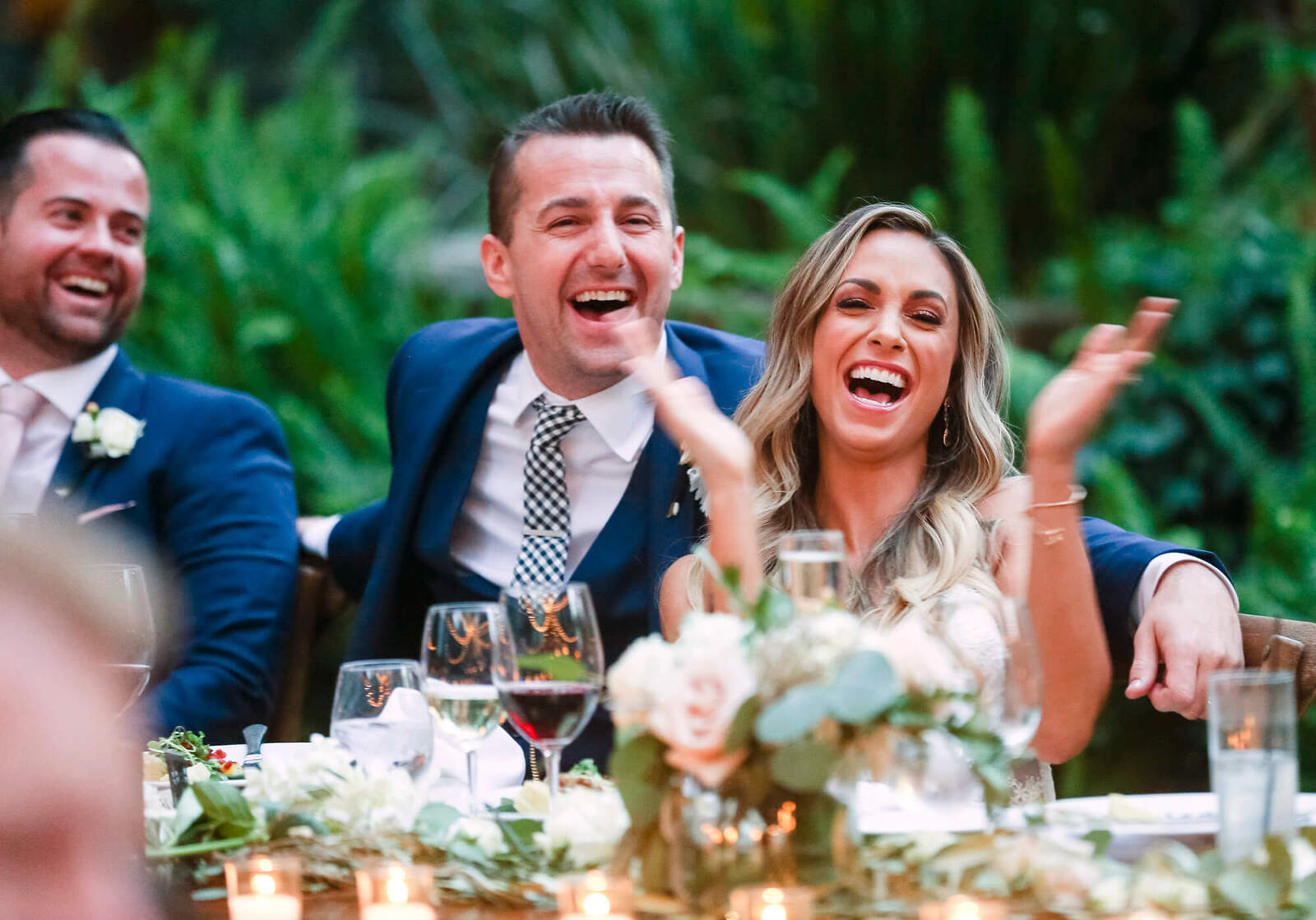 San Francisco wedding photographer - reception, bride laughing